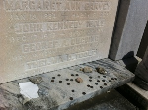 JKT's final resting place.  Photo taken 3/26/12. Message left to Toole on the paper had been washed away by the rain.