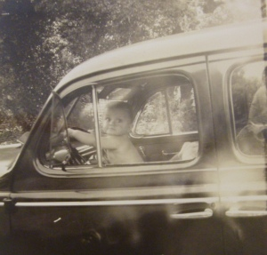 JKT in his father's car. Father and son were both passionate about automobiles. In the end, JKT chose to end his life in one.