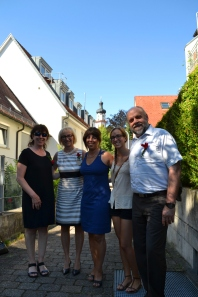 My hosts, the Stetters, and the Obernauer daughters in the streets of Laupheim
