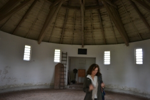 Only picture I snagged of Dr. Madel-Böhringer. She explains the purpose of the structure to house the body before burial