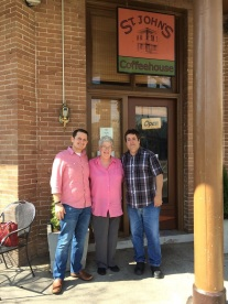 Mary Pratt Percy, David DuBos and me outside St. John's Coffeehouse in Covington.